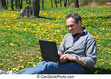 Man work outside computer
