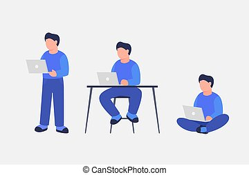 man work using laptop with various position standing sit and...