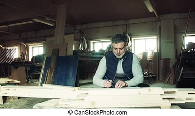 Man worker in the carpentry workshop, making plans.