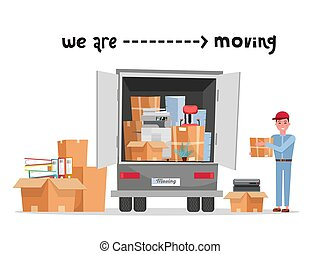 Man worker in uniform with cardboard boxes. Moving office. ...