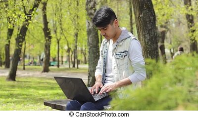 Man working and getting success - Asian man freelancer...