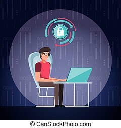 man working and set icons business
