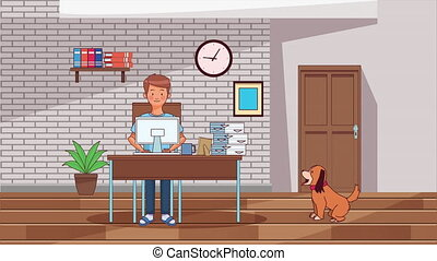 man working at desk from home by covid19 prevention method ,4k video animation