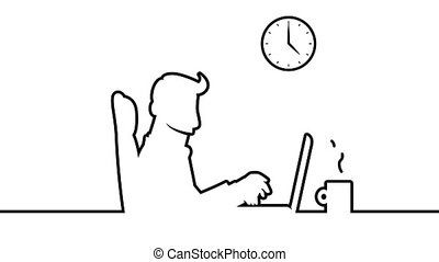 Line art animation of a man working at a desk, typing on his notebook with a clock on the wall. HD loopable animation including alpha matte.