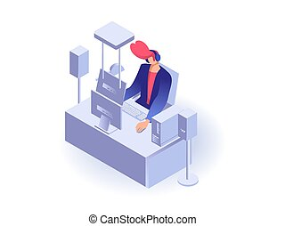 Man working at the computer flat 3d isometric vector...