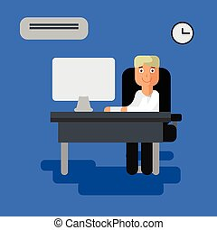 Man working at the computer office vector flat illustration