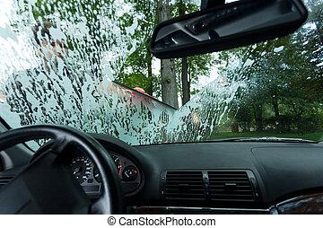 Man working in a car wash