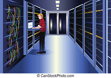 Man working in a data center - A vector illustration of man...