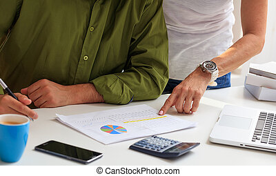 Man working in an office background