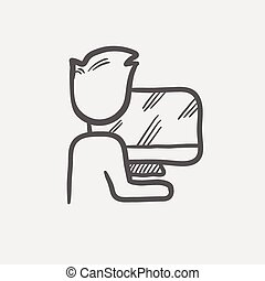 Man working in computer sketch icon
