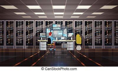 Man Working In Data Center Room Hosting Server Computer Monitoring Information Database