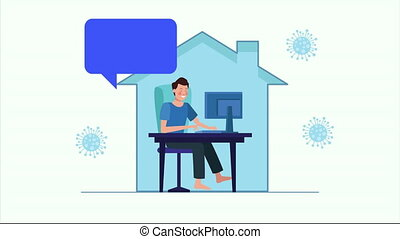 man working in desktop connected online for covid19 ,4k ...