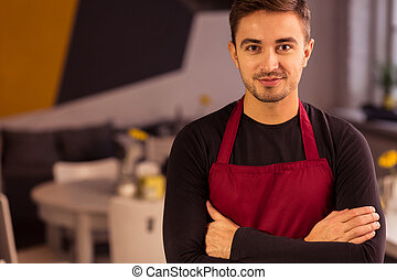 Man working in eating place