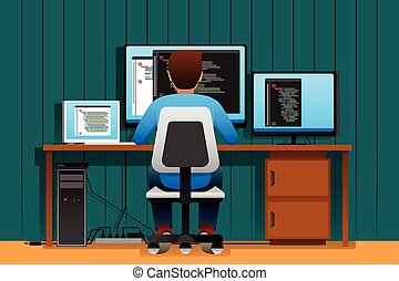 Man Working in Front of His Computer