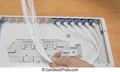 man working ODF fiber optic