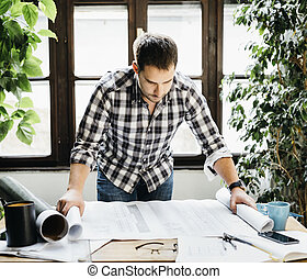 Man working on architectural project