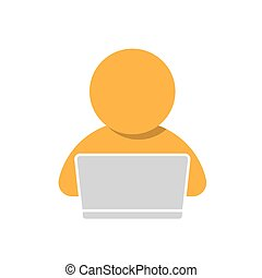 man working on computer icon