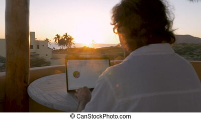 Man working on computer looking at charts during sunrise or...