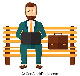 A hipster man sitting on a bench and working on a laptop vector flat design illustration isolated on white background. Square layout.