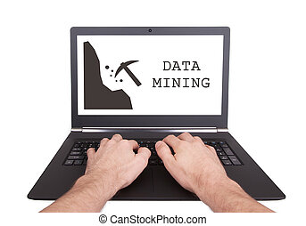Man working on laptop, data mining, isolated