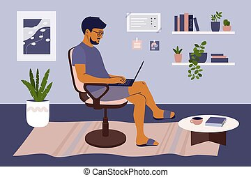 Man working on laptop from home in cozy interior