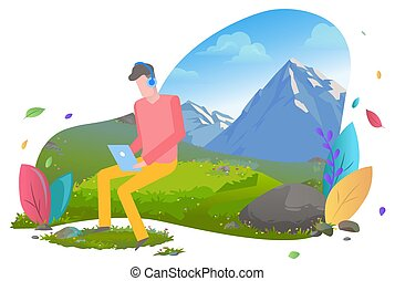 Man Working on Laptop in Mountains Male Travel
