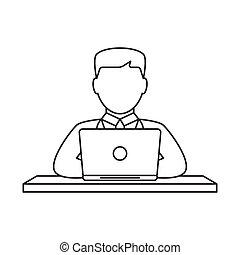 Man working on laptop line icon