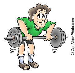 Man working out - color illustration.