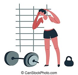Man working out in gym, male character training - Male ...