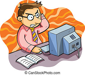 cartoon illustration of man working stress