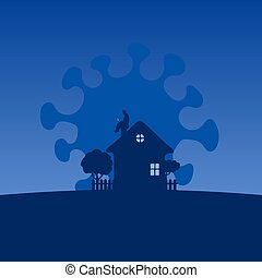 man working with laptop computer on the top roof of his house in blue shade background illustration vector.