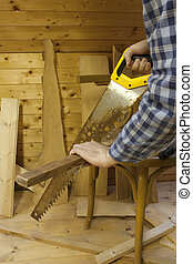 Man working with saw