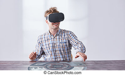 Man working with vr glasses