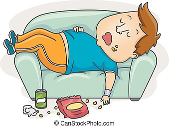 Illustration of an Overweight Man in Workout Clothes Sleeping Sloppily on the Couch After Eating Junk Food