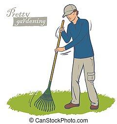 man works a rake