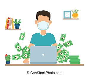 man works at laptop in medical mask. gets lot of money. Earnings during the quarantine period. during outbreak of COVID-19 virus. People work at home to prevent viral infection. coronavirus infection