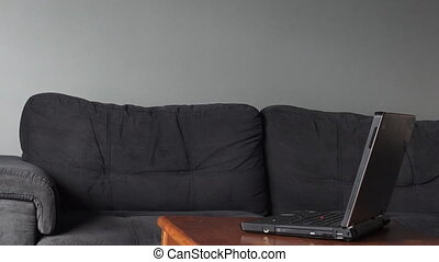 Man works from home on laptop. Work concept