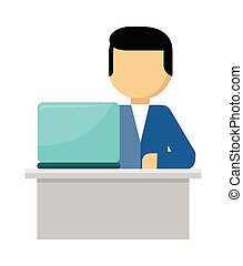 Man Works with Laptop and Analyzes Website. Vector