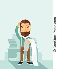 Man worried about his bills. - A sad hipster Caucasian man...