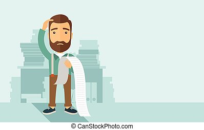 A sad hipster Caucasian man with beard standing holding a paper feels headache and worries about paying a lot of bills. Problem, worries concept. A contemporary style with pastel palette soft blue tinted background. Vector flat design illustration. Horizontal layout with text space in right side.