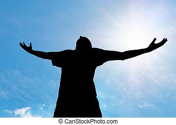 Man worship to God. Element of design.