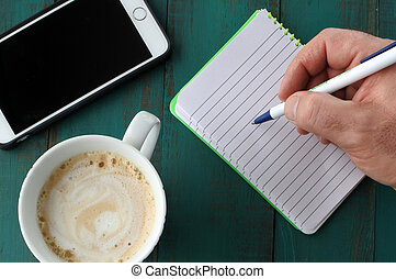 Man write a letter