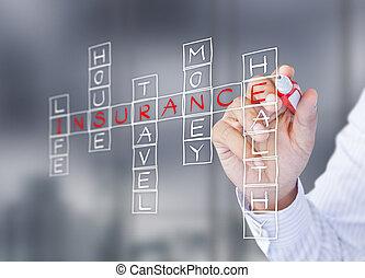 Man write life insurance concept