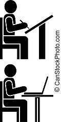 Man writes - pictogram, symbol