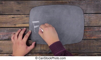 Man writes the word FORGING with chalk on a chalkboard, stylized as a thought.