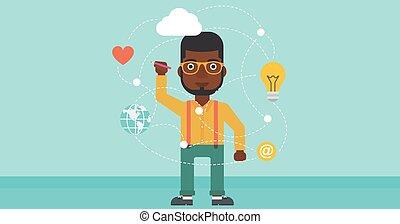 Man writing cloud computing on virtual screen.