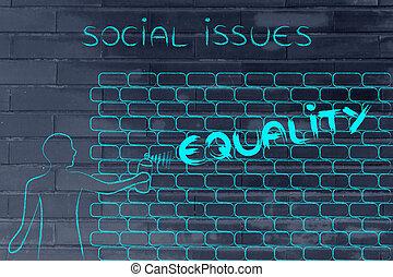 man writing Equality as wall graffiti, caption Social Issues...