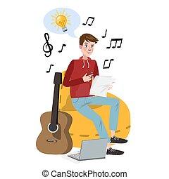 Man writing lyrics for song. Musical profession