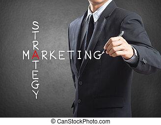 Man writing marketing strategy