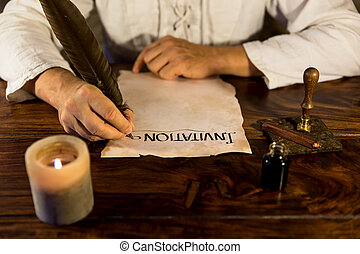 Man writing on a parchment Invitation